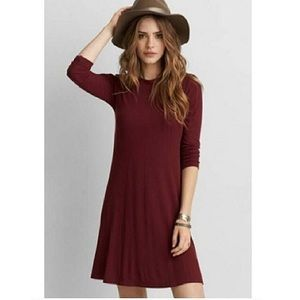 AE Ribbed, Maroon Swing Dress with 3/4 sleeve